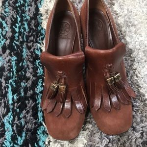 Tory Burch rust color heels new with out box.